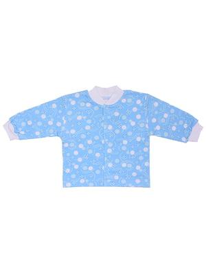 Кофточка голубая в принт | 5249756