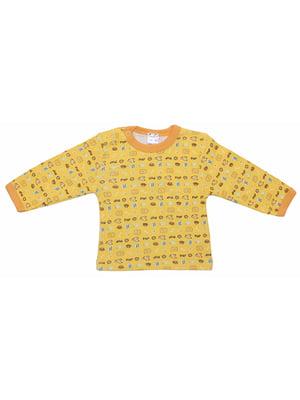 Лонгслив желтый в принт | 5249873