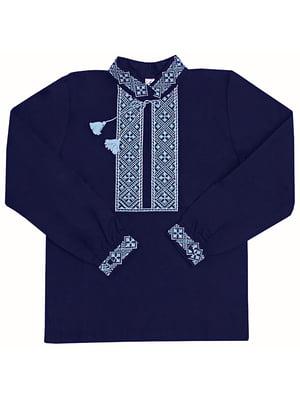 Рубашка-вышиванка синяя | 5249902