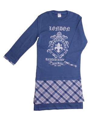 Платье синее с принтом | 5249997