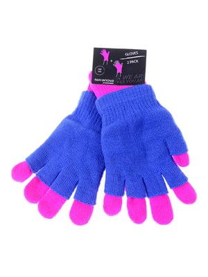 Перчатки синие двойные | 5254032