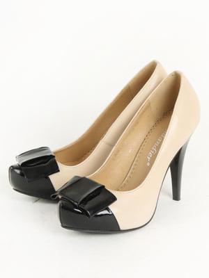 Туфлі бежево-чорні   5253607