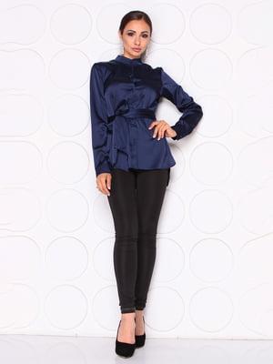 Блуза темно-синего цвета с поясом | 5254436