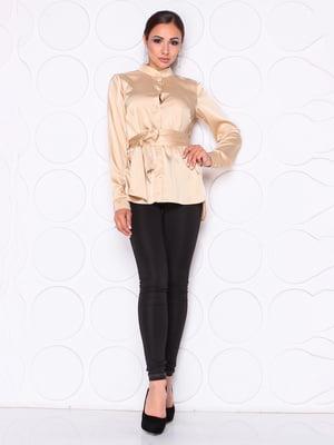 Блуза цвета мокко с поясом | 5254437