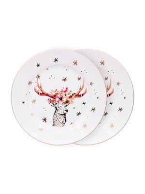 Набір тарілок (2 шт.) «Різдвяний олень» (19 см) | 5254477