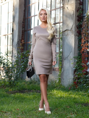 Платье серебристо-бежевое - Satin - 5258362