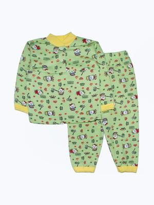 Піжама зелена в принт | 5266164