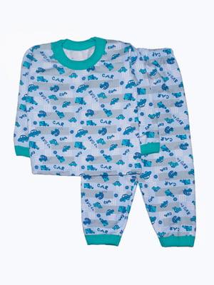 Піжама блакитна в принт | 5266156
