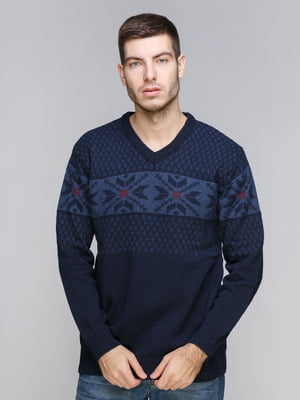 Пуловер темно-синий с орнаментом | 5245998