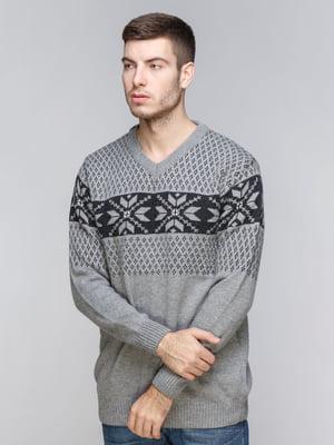 Пуловер серый с орнаментом | 5245996
