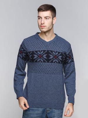 Пуловер синий с орнаментом | 5245999