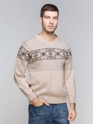 Пуловер бежевый с орнаментом | 5245994