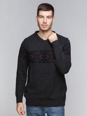 Пуловер темно-серый с орнаментом | 5245995