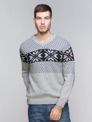 Пуловер серый с орнаментом | 5245997