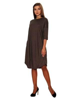 Сукня коричнева в зелену клітинку | 5262779