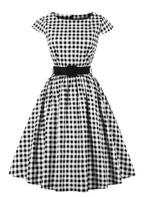 Платье бело-черное в клетку | 5261423