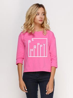 Лонгслив розовый с принтом | 5274393