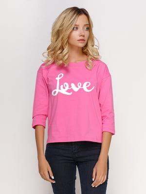 Лонгслив розовый с принтом | 5274395