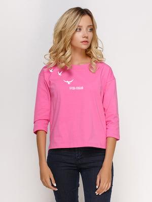Лонгслив розовый с принтом | 5274400