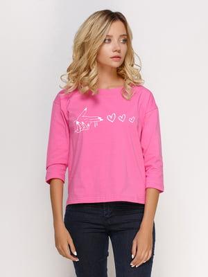 Лонгслив розовый с принтом | 5274404