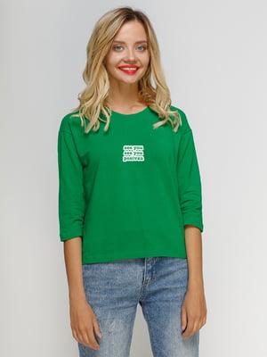 Лонгслив зеленый с принтом | 5274428