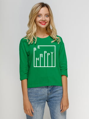 Лонгслив зеленый с принтом | 5274433