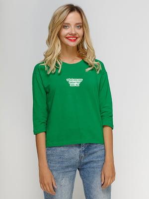 Лонгслив зеленый с принтом | 5274445
