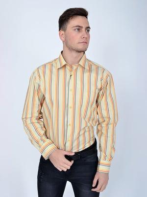 Рубашка светло-оливковая в полоску | 5276226