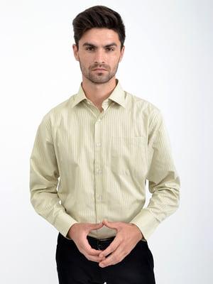 Сорочка оливкового кольору в смужку | 5276237
