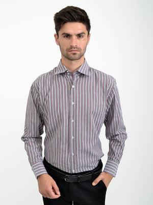 Рубашка вишневого цвета в полоску | 5276250