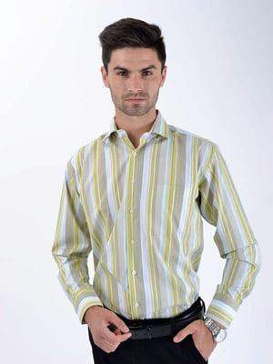 Рубашка цвета хаки в полоску | 5276345