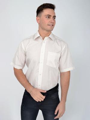Сорочка молочного кольору в коричневу смужку | 5276449