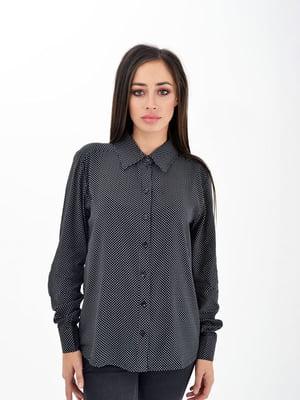 Рубашка черная в принт | 5276461