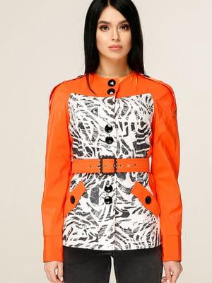 Куртка помаранчева з анімалістичним принтом | 4979827