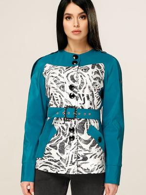 Куртка кольору морської хвилі з анімалістичним принтом | 4979829