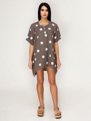 Платье коричневое в горох | 5143130