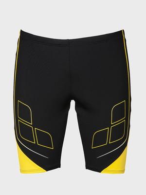 Плавки черно-желтые с принтом | 5259448