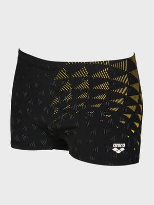 Плавки черно-желтые с принтом | 5259450