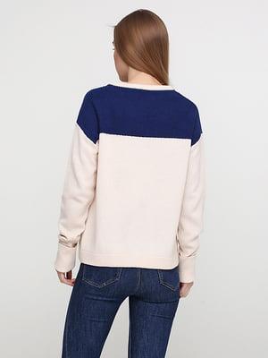 Пуловер бежево-синій | 5279977