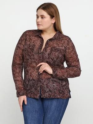 Блуза коричневая с принтом | 5280346
