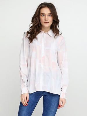 Рубашка бело-розовая | 5280351