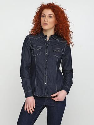 Рубашка темно-синяя | 5280352