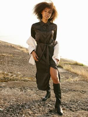 Сукня-сорочка чорна в дрібний принт   5281211