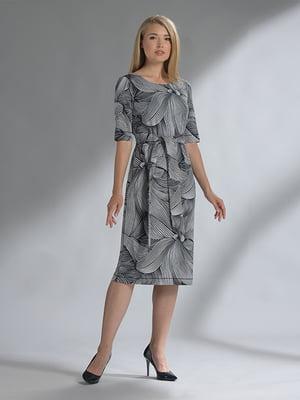 Сукня синя з квітковим принтом | 5282491