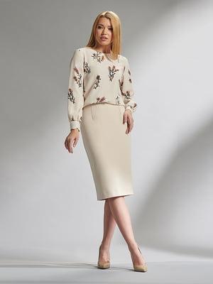 Блуза бежевая с цветочным принтом | 5282517