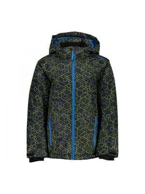 Куртка цвета антрацит с принтом лыжная | 5259993