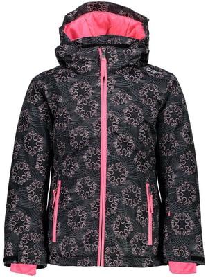 Куртка цвета антрацит с принтом лыжная | 5259996