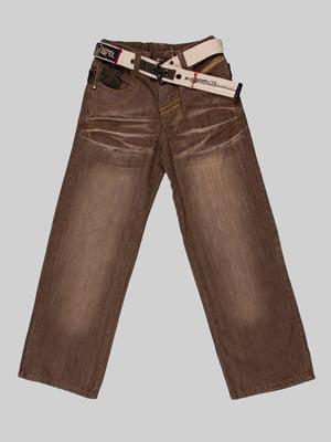 Джинси коричневі з принтом | 5282379