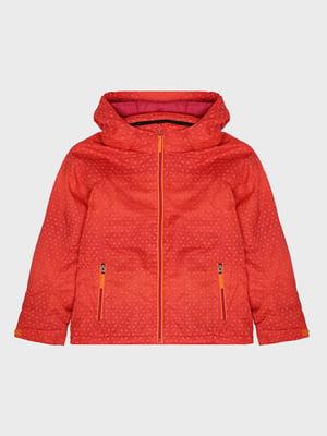 Куртка красно-оранжевая с принтом лыжная | 5259994