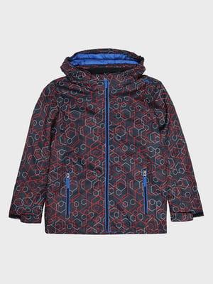 Куртка темно-синя з принтом лижна | 5259992